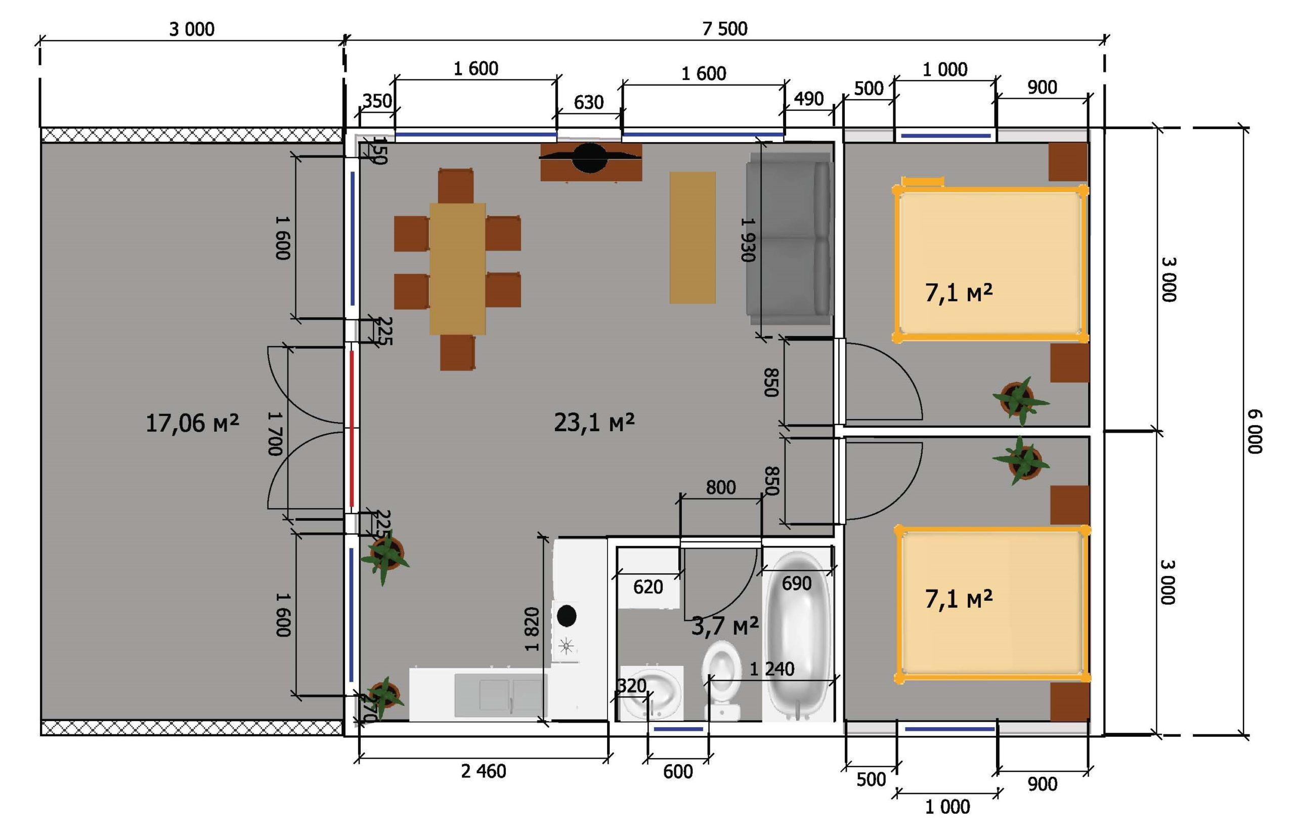 Готовый дом 45м + участок 7 соток